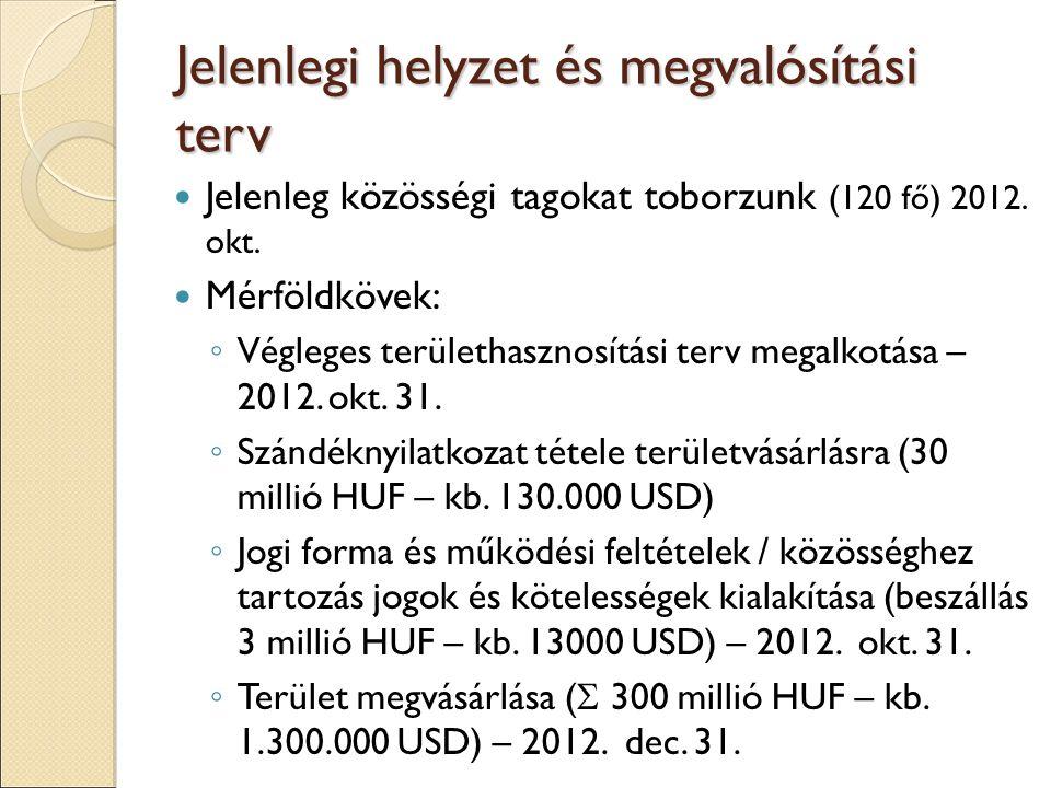 Jelenlegi helyzet és megvalósítási terv Jelenleg közösségi tagokat toborzunk (120 fő) 2012.