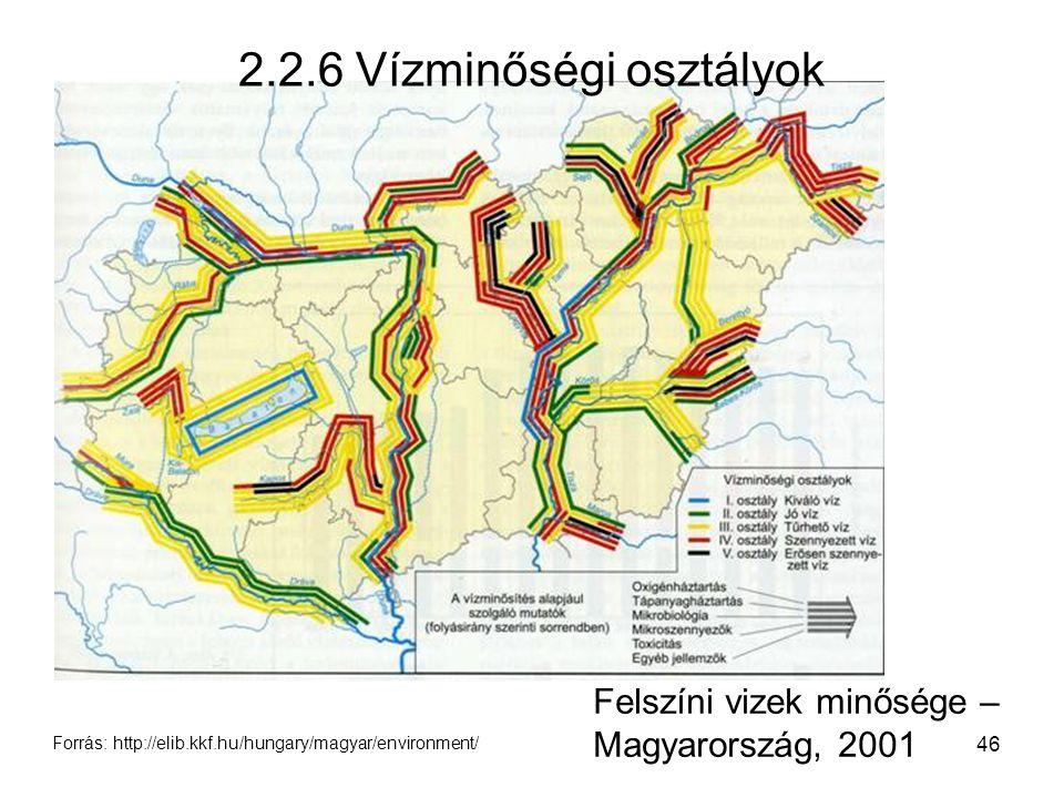 46 Felszíni vizek minősége – Magyarország, 2001 2.2.6 Vízminőségi osztályok Forrás: http://elib.kkf.hu/hungary/magyar/environment/