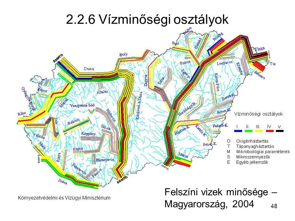 48 Környezetvédelmi és Vízügyi Minisztérium 2.2.6 Vízminőségi osztályok Felszíni vizek minősége – Magyarország, 2004