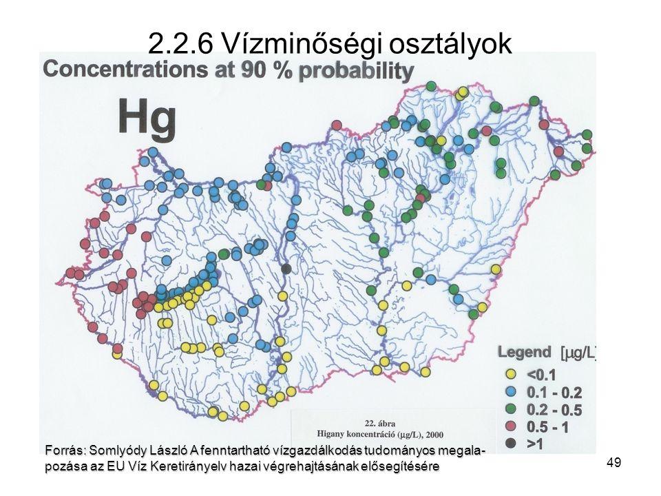 49 Felszíni vizek minősége – Magyarország, 2004 Forrás: Somlyódy László A fenntartható vízgazdálkodás tudományos megala- pozása az EU Víz Keretirányelv hazai végrehajtásának elősegítésére 2.2.6 Vízminőségi osztályok