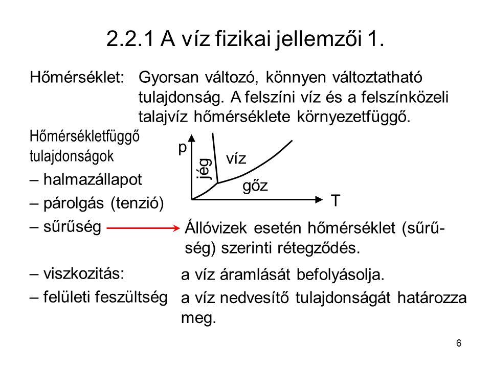 6 2.2.1 A víz fizikai jellemzői 1. Hőmérséklet: Hőmérsékletfüggő tulajdonságok – halmazállapot – párolgás (tenzió) – sűrűség – viszkozitás: – felületi
