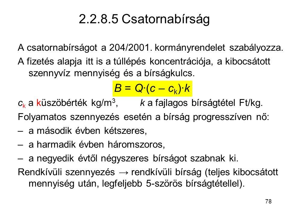 78 2.2.8.5 Csatornabírság A csatornabírságot a 204/2001.