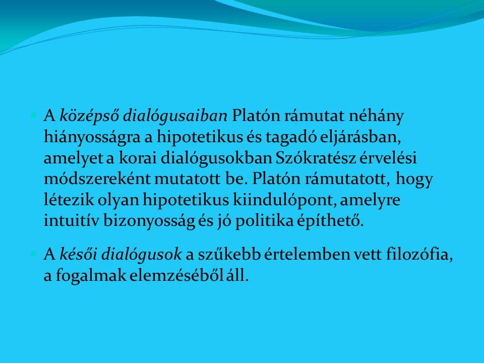 A középső dialógusaiban Platón rámutat néhány hiányosságra a hipotetikus és tagadó eljárásban, amelyet a korai dialógusokban Szókratész érvelési módsz