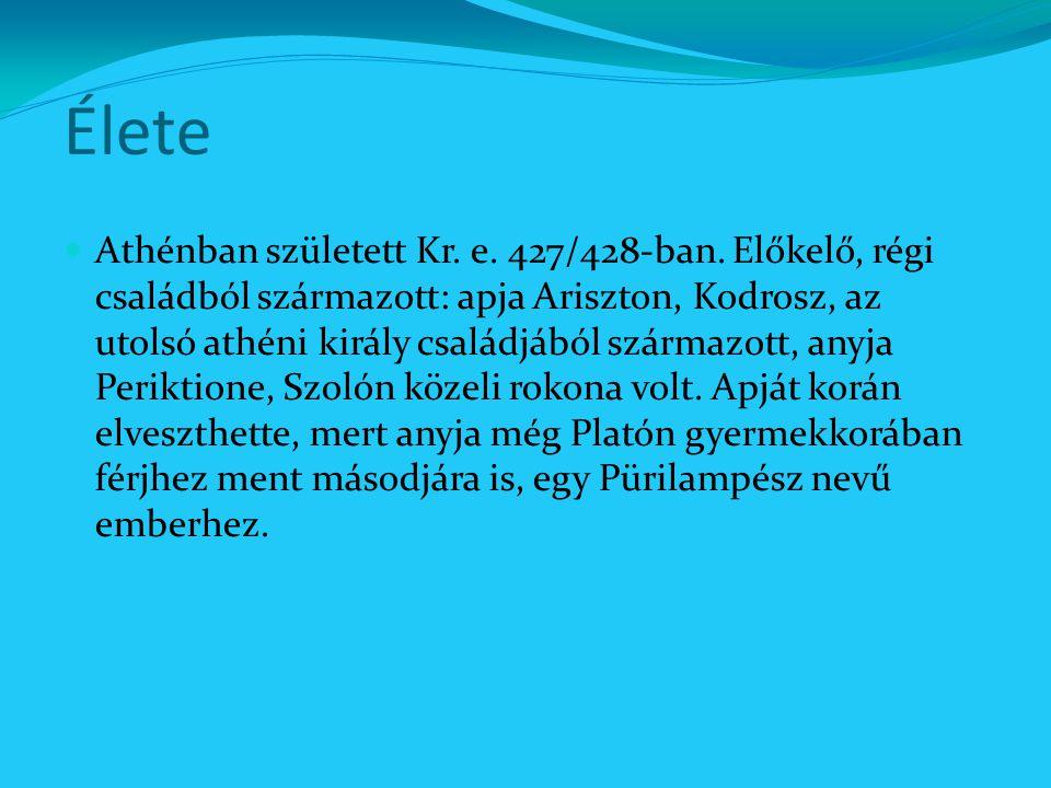 Élete Athénban született Kr. e. 427/428-ban. Előkelő, régi családból származott: apja Ariszton, Kodrosz, az utolsó athéni király családjából származot