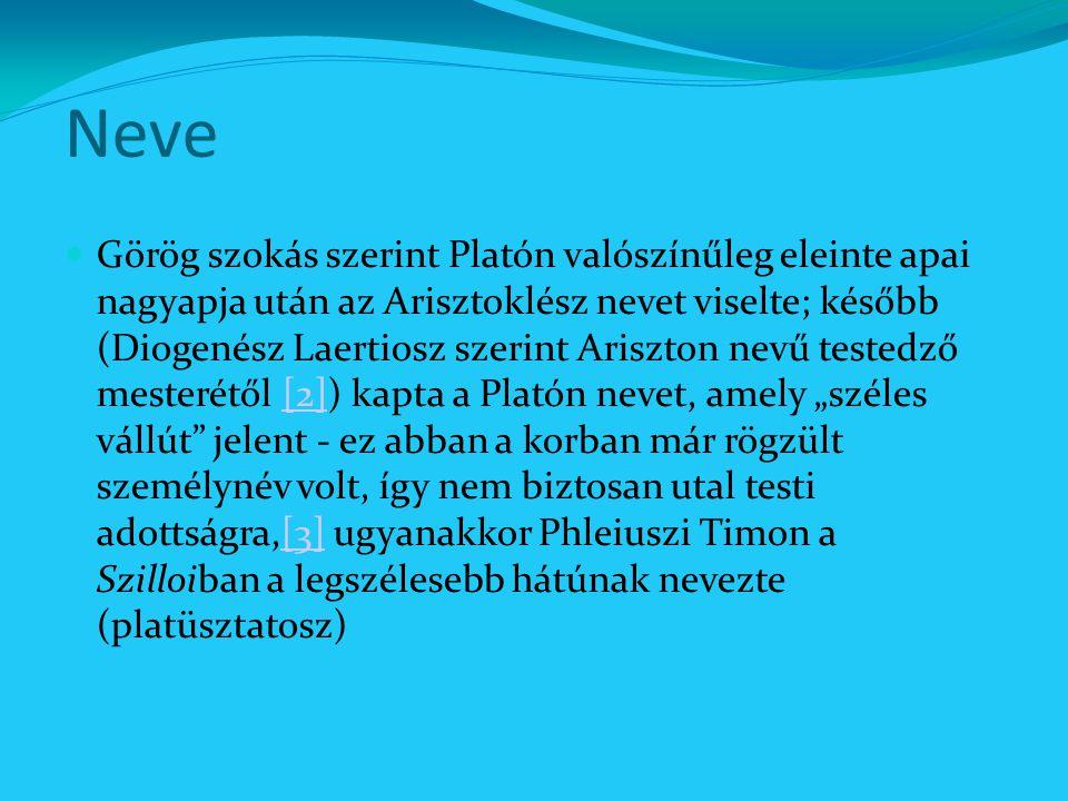 Neve Görög szokás szerint Platón valószínűleg eleinte apai nagyapja után az Arisztoklész nevet viselte; később (Diogenész Laertiosz szerint Ariszton n
