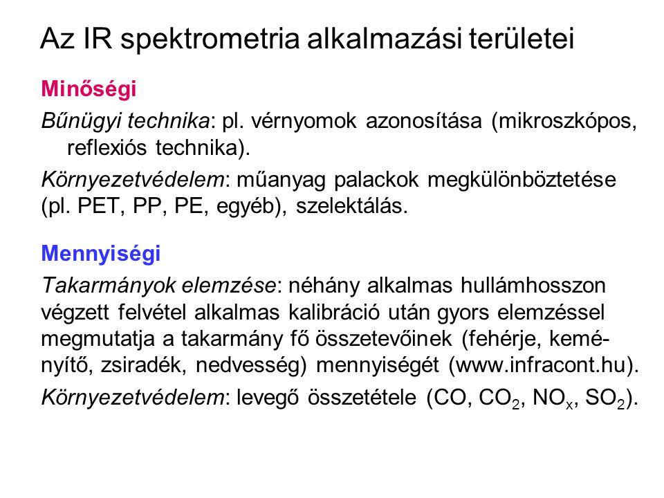 Az IR spektrometria alkalmazási területei Minőségi Bűnügyi technika: pl. vérnyomok azonosítása (mikroszkópos, reflexiós technika). Környezetvédelem: m