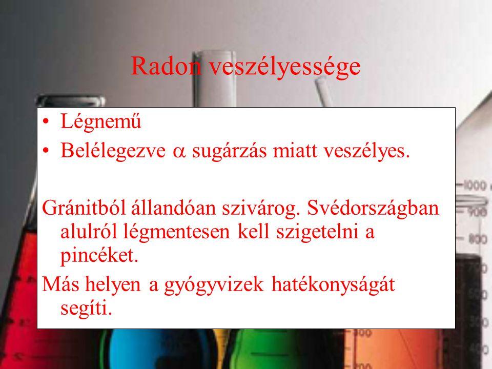 Radon veszélyessége Légnemű Belélegezve  sugárzás miatt veszélyes.