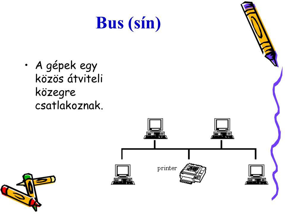 Bus (sín) A gépek egy közös átviteli közegre csatlakoznak.