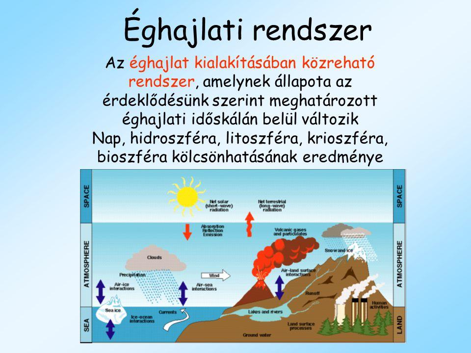 Éghajlati rendszer Az éghajlat kialakításában közreható rendszer, amelynek állapota az érdeklődésünk szerint meghatározott éghajlati időskálán belül v