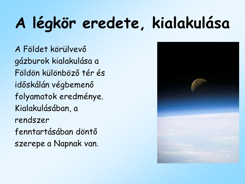A légkör eredete, kialakulása A Földet körülvevő gázburok kialakulása a Földön különböző tér és időskálán végbemenő folyamatok eredménye. Kialakulásáb