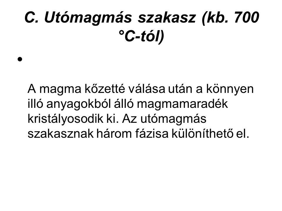 C.Utómagmás szakasz (kb.