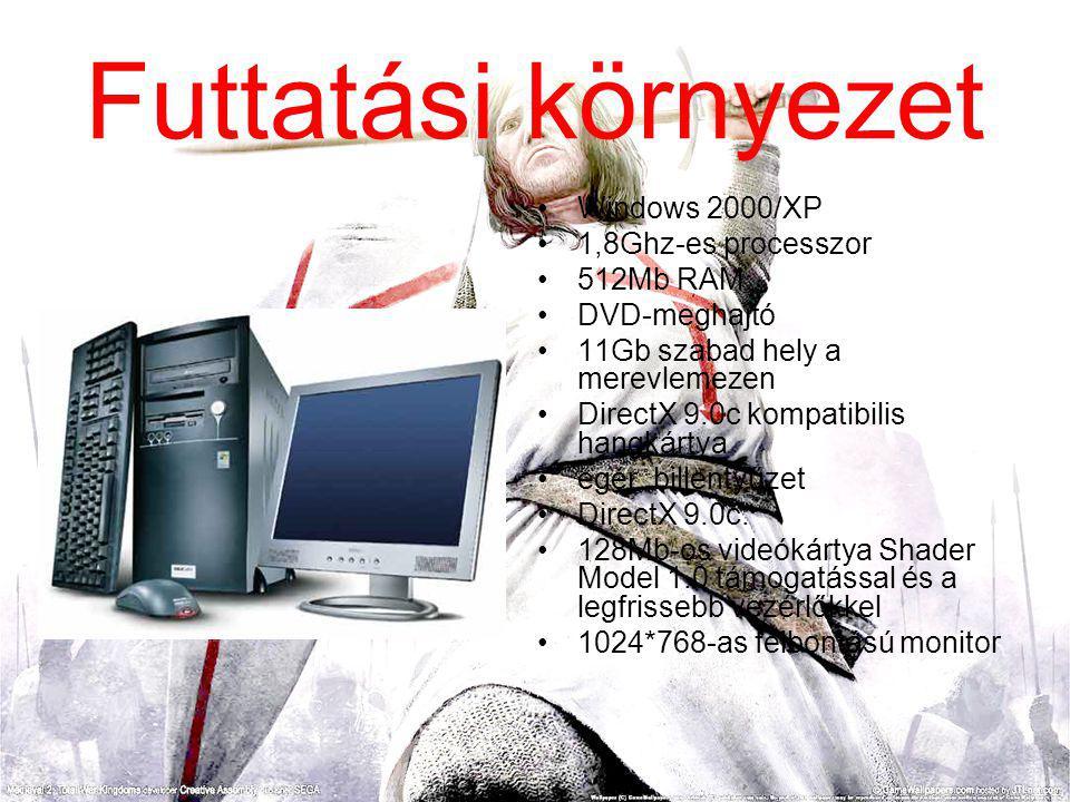 Futtatási környezet Windows 2000/XP 1,8Ghz-es processzor 512Mb RAM.