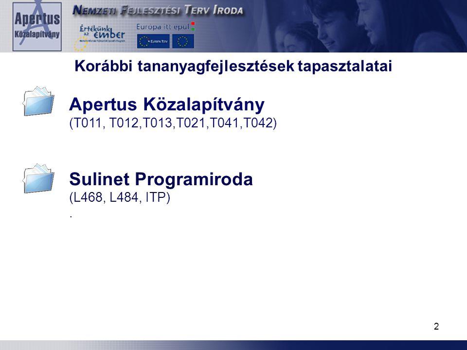 2 (T011, T012,T013,T021,T041,T042) Sulinet Programiroda (L468, L484, ITP). Korábbi tananyagfejlesztések tapasztalatai