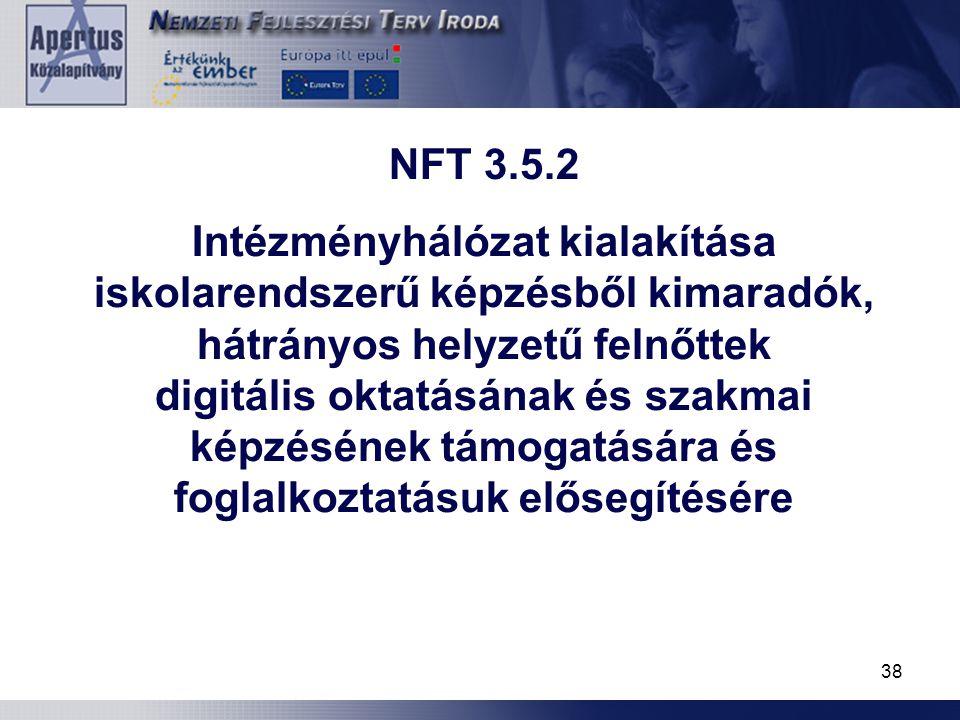 38 NFT 3.5.2 Intézményhálózat kialakítása iskolarendszerű képzésből kimaradók, hátrányos helyzetű felnőttek digitális oktatásának és szakmai képzéséne