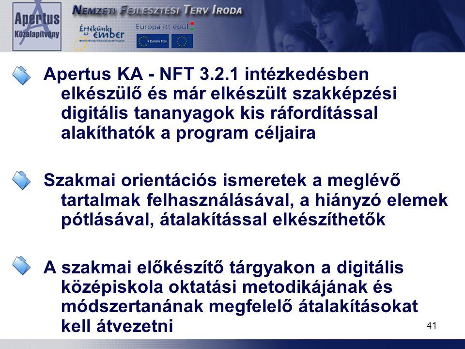 41 A projekt intézkedései Apertus KA - NFT 3.2.1 intézkedésben elkészülő és már elkészült szakképzési digitális tananyagok kis ráfordítással alakíthat