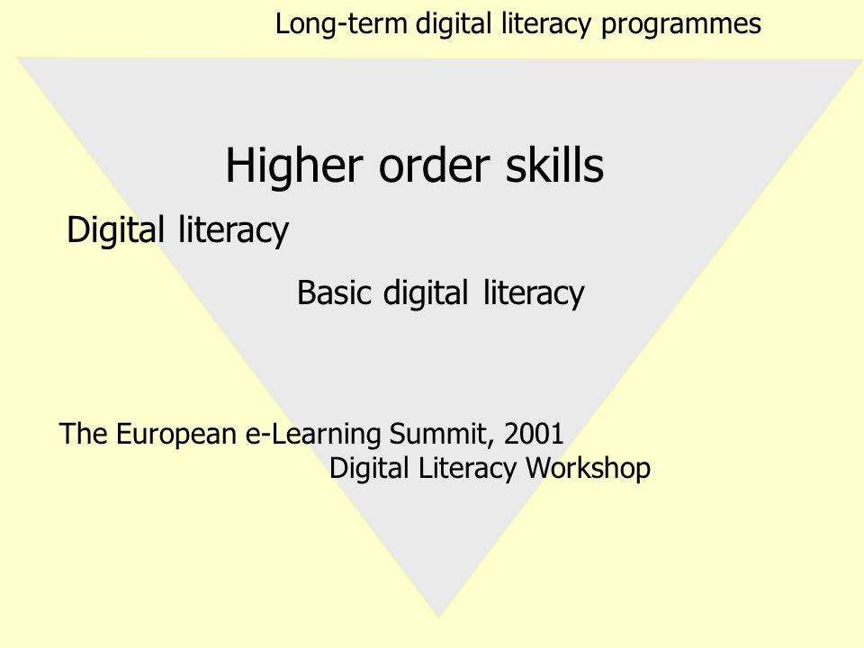 Digital literacy Basic digital literacy Higher order skills Long-term digital literacy programmes The European e-Learning Summit, 2001 Digital Literacy Workshop