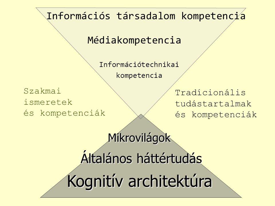 Információs társadalom kompetencia Médiakompetencia Információtechnikai kompetencia Mikrovilágok Általános háttértudás Kognitív architektúra Szakmai ismeretek és kompetenciák Tradícionális tudástartalmak és kompetenciák