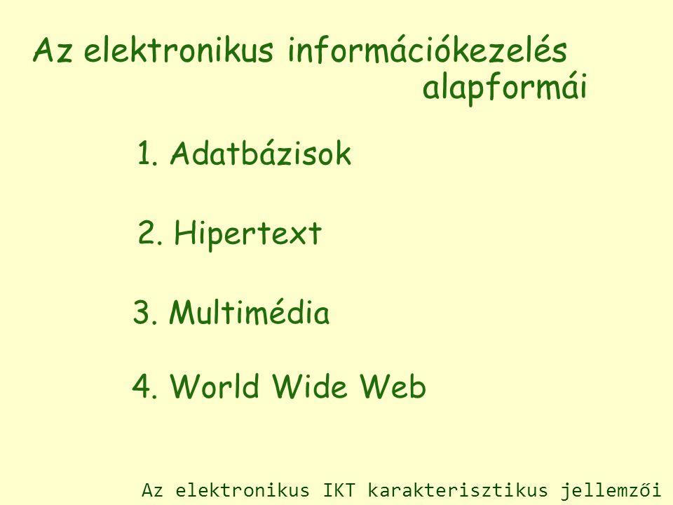 1. Adatbázisok 2. Hipertext 3. Multimédia 4.