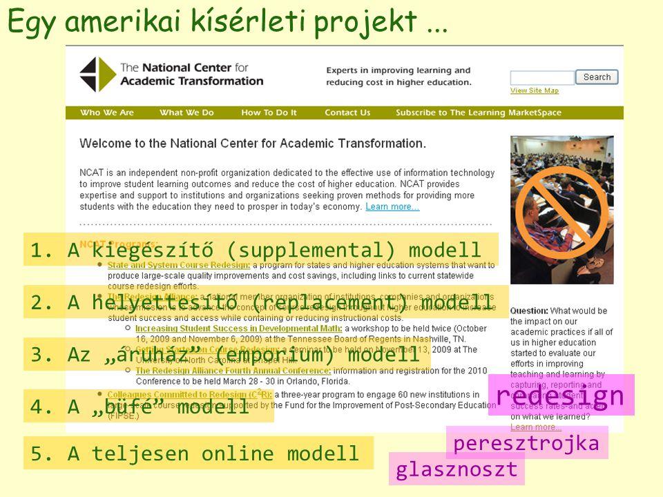 Egy amerikai kísérleti projekt... 1. A kiegészítő (supplemental) modell 2.