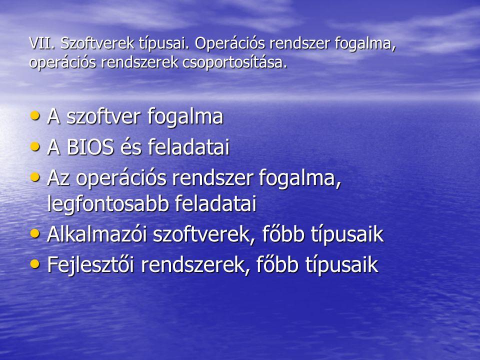 VII. Szoftverek típusai. Operációs rendszer fogalma, operációs rendszerek csoportosítása. A szoftver fogalma A szoftver fogalma A BIOS és feladatai A