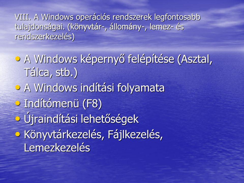 VIII. A Windows operációs rendszerek legfontosabb tulajdonságai. (könyvtár-, állomány-, lemez- és rendszerkezelés) A Windows képernyő felépítése (Aszt