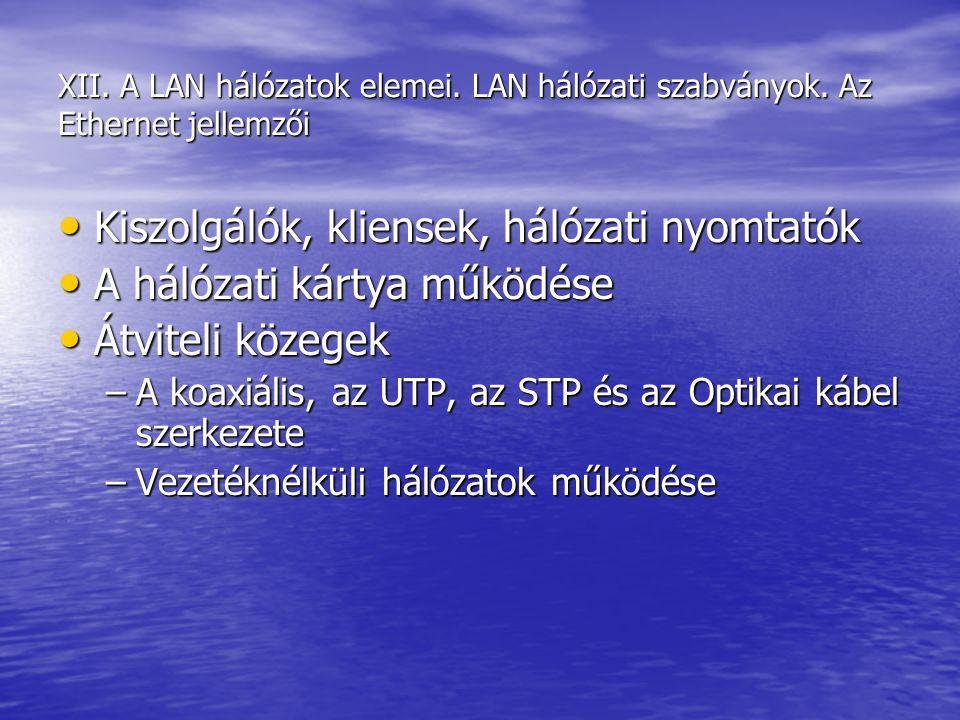 XII. A LAN hálózatok elemei. LAN hálózati szabványok. Az Ethernet jellemzői Kiszolgálók, kliensek, hálózati nyomtatók Kiszolgálók, kliensek, hálózati
