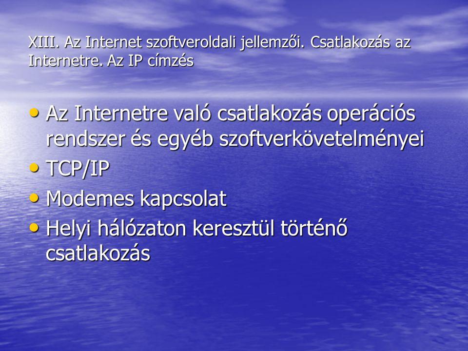 XIII. Az Internet szoftveroldali jellemzői. Csatlakozás az Internetre. Az IP címzés Az Internetre való csatlakozás operációs rendszer és egyéb szoftve