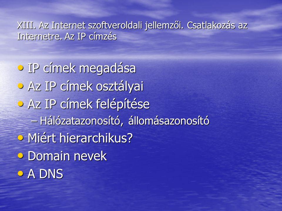 XIII. Az Internet szoftveroldali jellemzői. Csatlakozás az Internetre. Az IP címzés IP címek megadása IP címek megadása Az IP címek osztályai Az IP cí