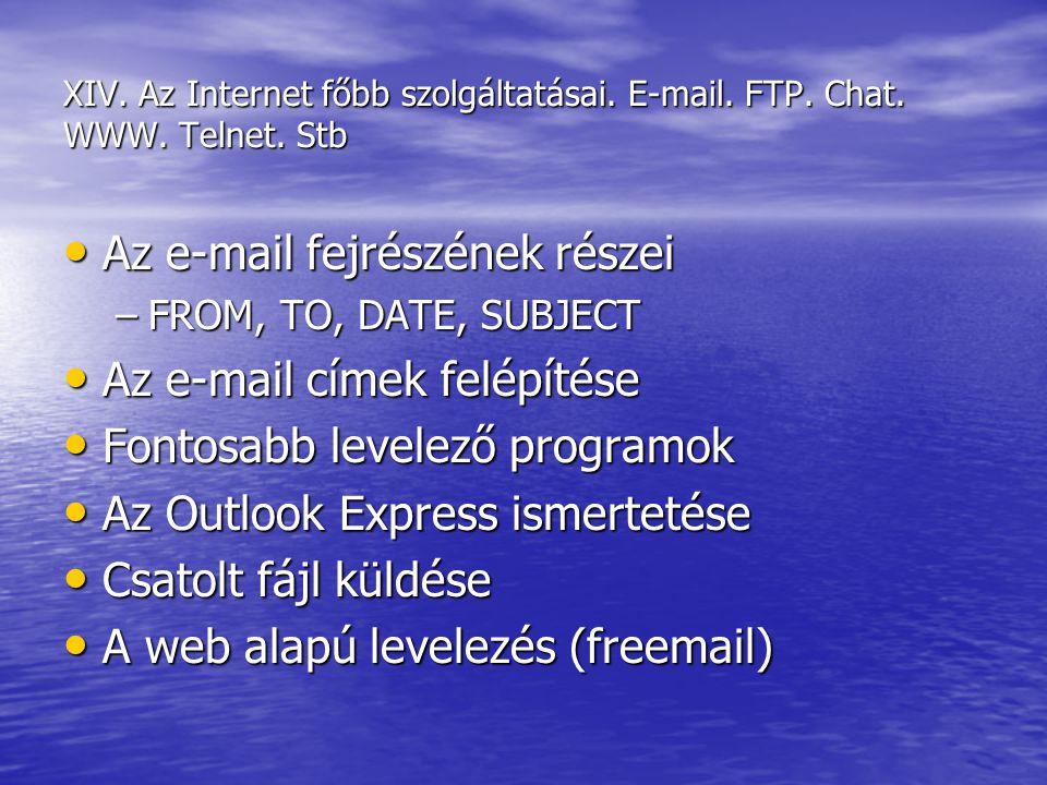 XIV. Az Internet főbb szolgáltatásai. E-mail. FTP. Chat. WWW. Telnet. Stb Az e-mail fejrészének részei Az e-mail fejrészének részei –FROM, TO, DATE, S