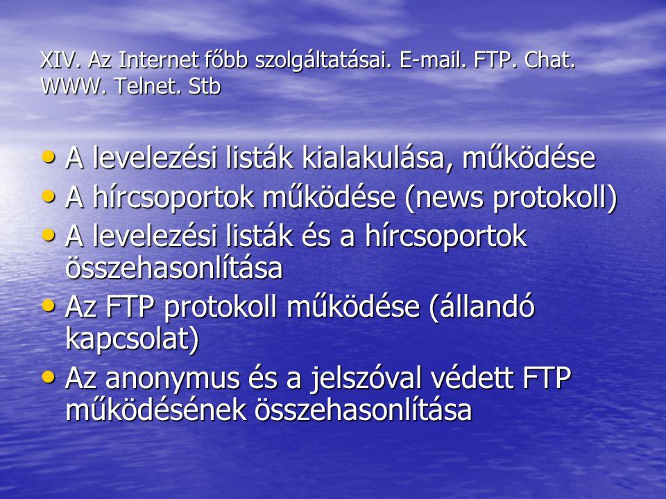 XIV. Az Internet főbb szolgáltatásai. E-mail. FTP. Chat. WWW. Telnet. Stb A levelezési listák kialakulása, működése A levelezési listák kialakulása, m