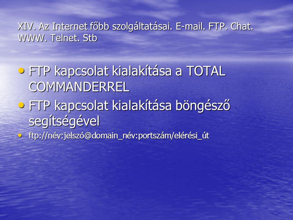 XIV. Az Internet főbb szolgáltatásai. E-mail. FTP. Chat. WWW. Telnet. Stb FTP kapcsolat kialakítása a TOTAL COMMANDERREL FTP kapcsolat kialakítása a T