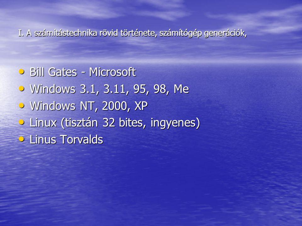I. A számítástechnika rövid története, számítógép generációk, Bill Gates - Microsoft Bill Gates - Microsoft Windows 3.1, 3.11, 95, 98, Me Windows 3.1,