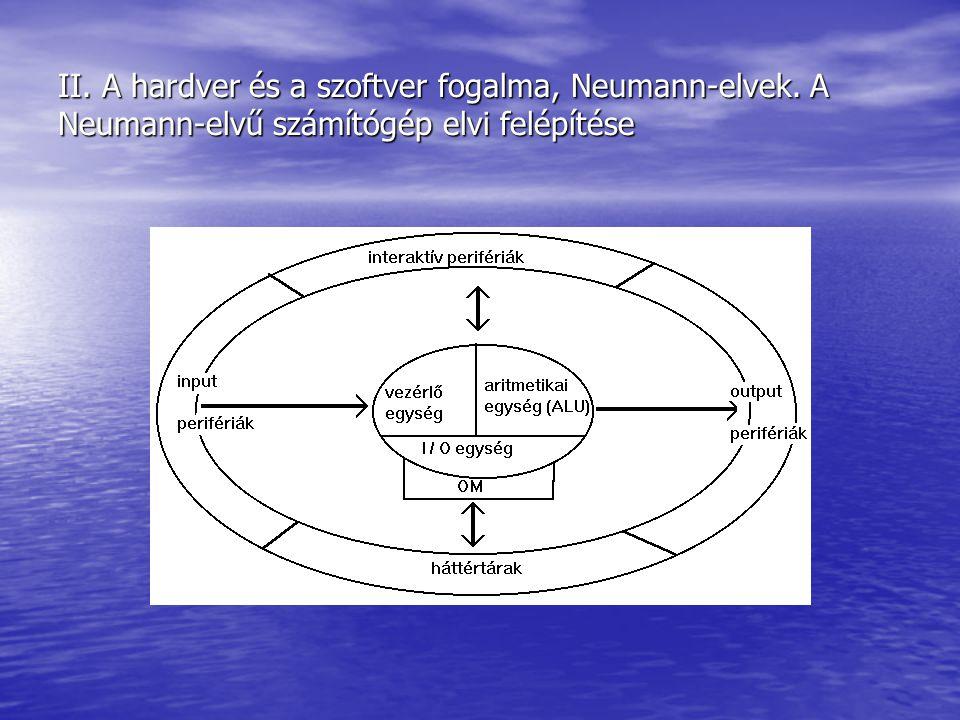 II. A hardver és a szoftver fogalma, Neumann-elvek. A Neumann-elvű számítógép elvi felépítése
