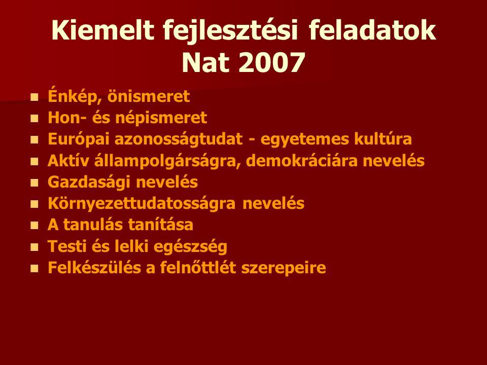 Kiemelt fejlesztési feladatok Nat 2007 Énkép, önismeret Hon- és népismeret Európai azonosságtudat - egyetemes kultúra Aktív állampolgárságra, demokrác