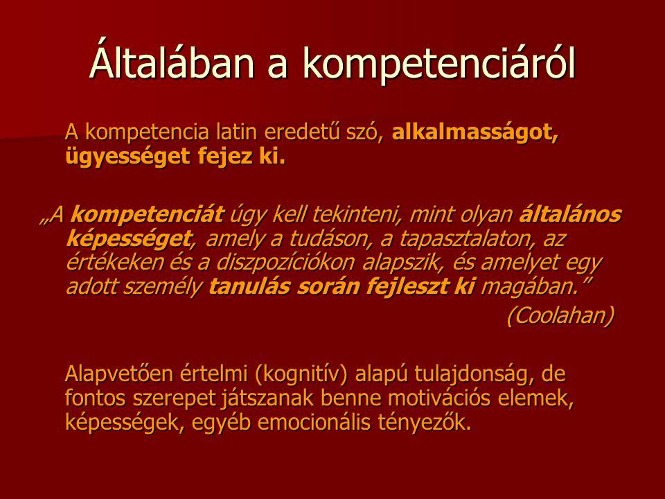 """Általában a kompetenciáról A kompetencia latin eredetű szó, alkalmasságot, ügyességet fejez ki. """"A kompetenciát úgy kell tekinteni, mint olyan általán"""