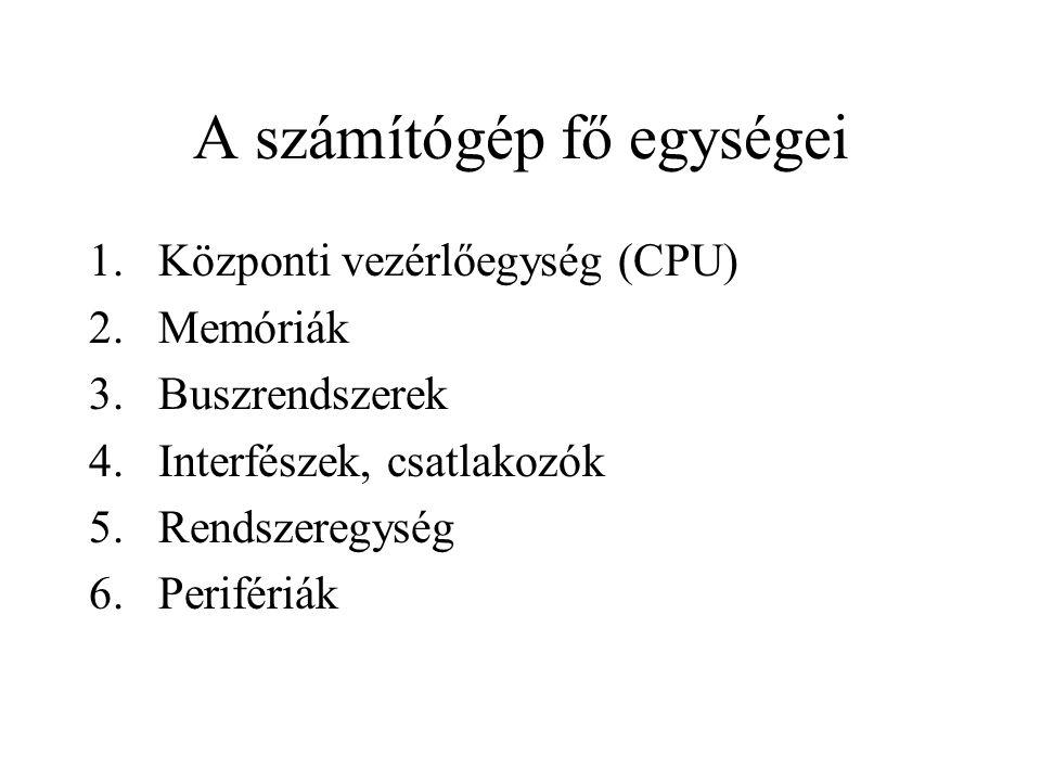 A számítógép fő egységei 1.Központi vezérlőegység (CPU) 2.Memóriák 3.Buszrendszerek 4.Interfészek, csatlakozók 5.Rendszeregység 6.Perifériák