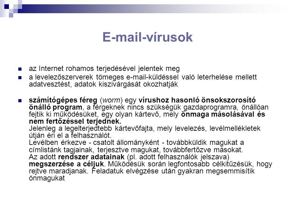 E-mail-vírusok az Internet rohamos terjedésével jelentek meg a levelezőszerverek tömeges e-mail-küldéssel való leterhelése mellett adatvesztést, adatok kiszivárgását okozhatják számítógépes féreg (worm) egy vírushoz hasonló önsokszorosító önálló program, a férgeknek nincs szükségük gazdaprogramra, önállóan fejtik ki működésüket, egy olyan kártevő, mely önmaga másolásával és nem fertőzéssel terjednek.