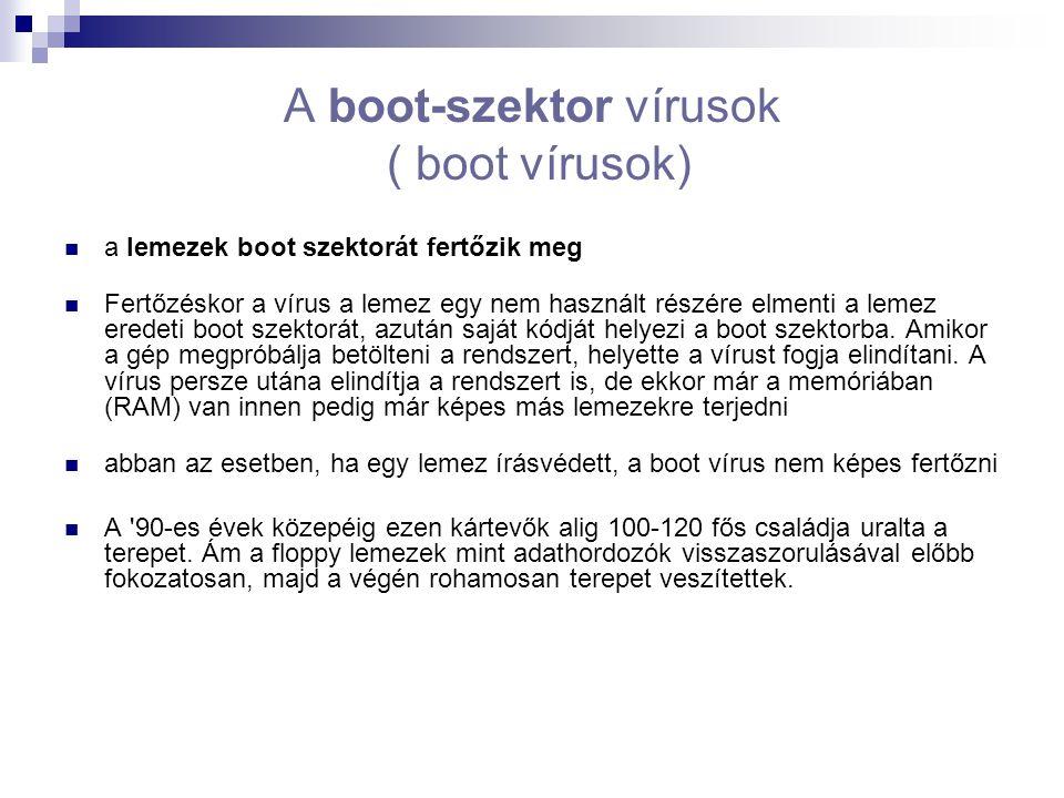 A boot-szektor vírusok ( boot vírusok) a lemezek boot szektorát fertőzik meg Fertőzéskor a vírus a lemez egy nem használt részére elmenti a lemez eredeti boot szektorát, azután saját kódját helyezi a boot szektorba.