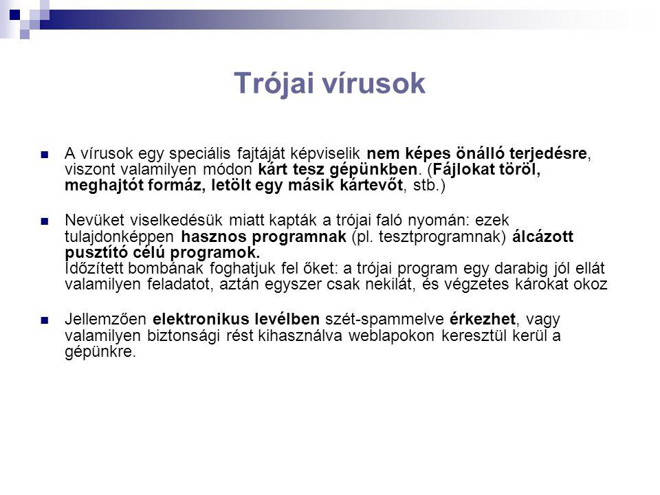 Trójai vírusok A vírusok egy speciális fajtáját képviselik nem képes önálló terjedésre, viszont valamilyen módon kárt tesz gépünkben.
