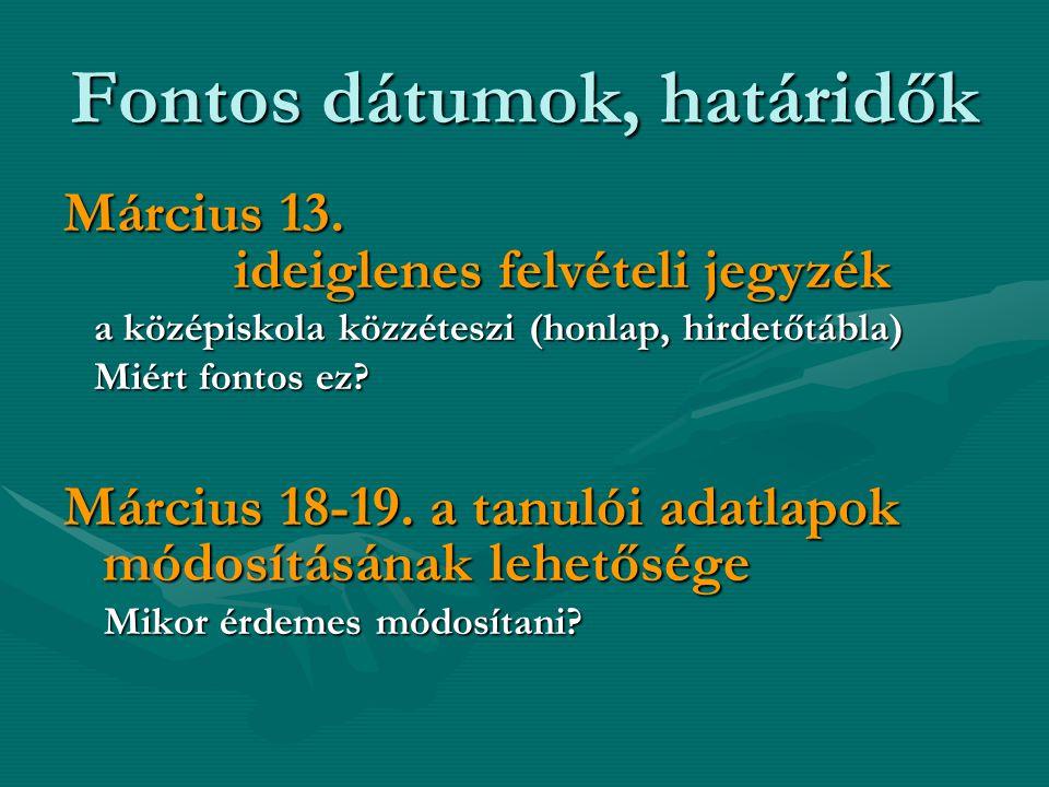 Fontos dátumok, határidők Március 13.