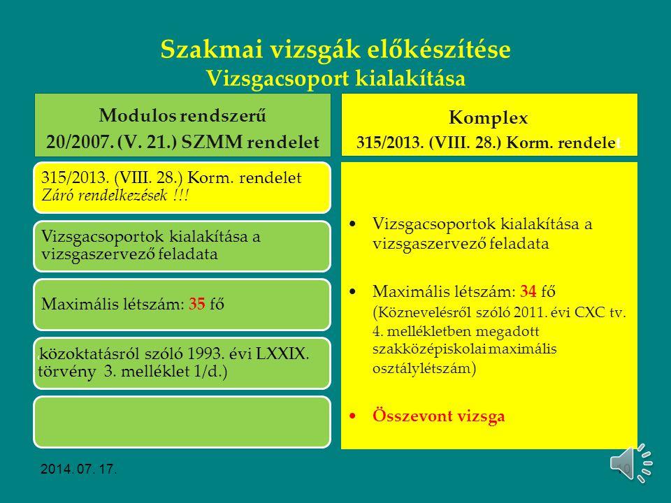 Szakmai vizsgák előkészítése Vizsgacsoport kialakítása Modulos rendszerű 20/2007. (V. 21.) SZMM rendelet Kérelmek Pl. felmentési kérelem: Vizsgaszerve