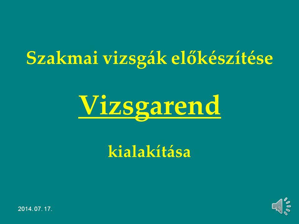 Szakmai vizsgák előkészítése Vizsgacsoport kialakítása Modulos rendszerű 20/2007.(V.21.) SZMM rendelet Iskolai rendszeren kívül: Minimális létszám: 10