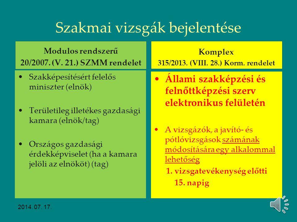 Szakmai vizsgák előkészítése Vizsgarendek előkészítése Modulos rendszerű 20/2007. (V. 21.) SZMM rendelet A vizsgaszervező előkészíti a vizsgáztatási d