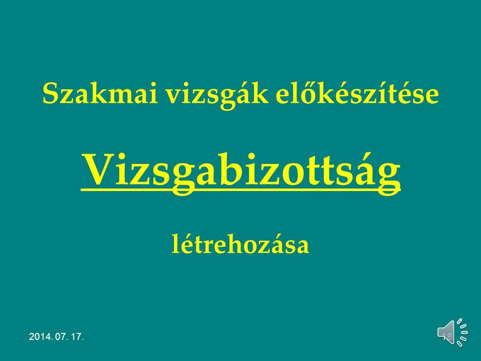 Szakmai vizsgák bejelentése Modulos rendszerű 20/2007. (V. 21.) SZMM rendelet Szakképesítésért felelős miniszter (elnök) Területileg illetékes gazdasá