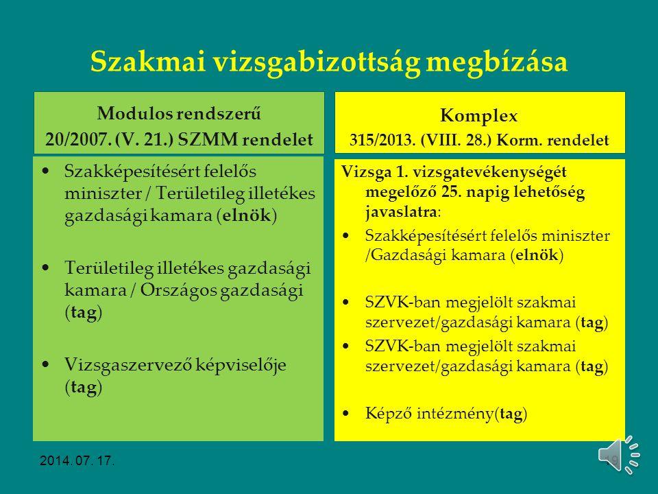 Szakmai vizsgák előkészítése Vizsgabizottság létrehozása 2014. 07. 17.18
