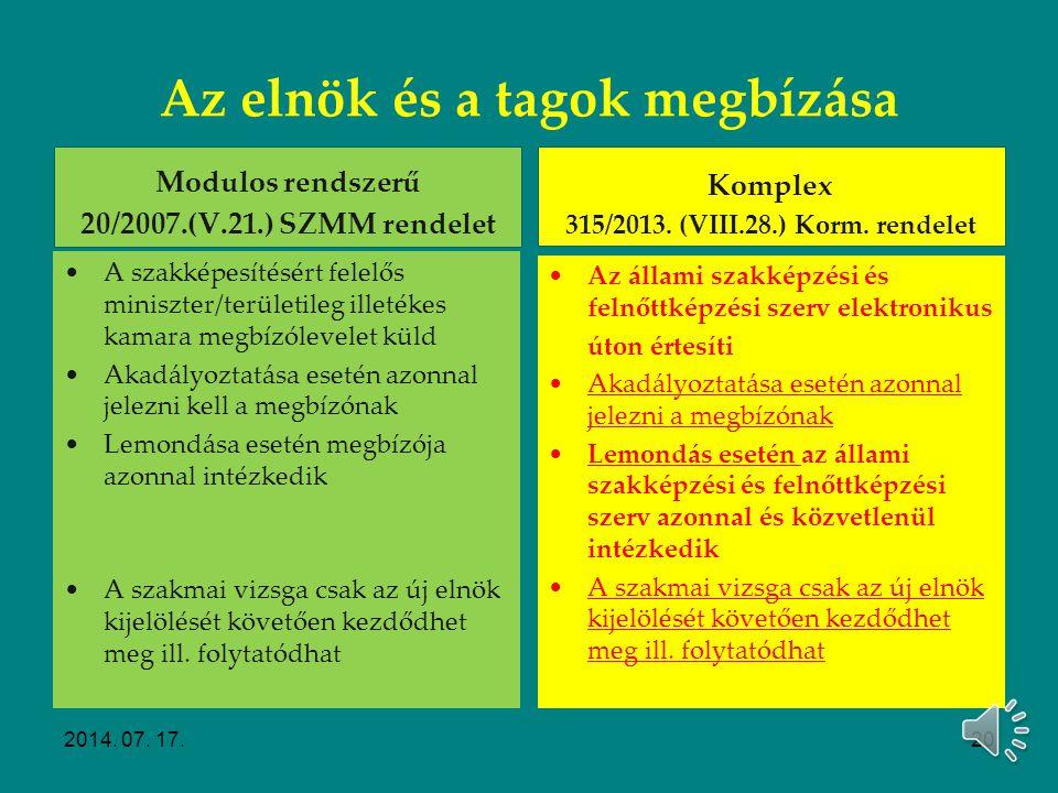 Szakmai vizsgabizottság megbízása Modulos rendszerű 20/2007. (V. 21.) SZMM rendelet Szakképesítésért felelős miniszter / Területileg illetékes gazdasá