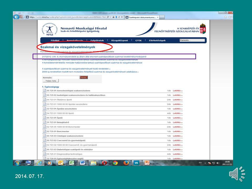 Szakmai és vizsgakövetelmény Pl. Asztalos