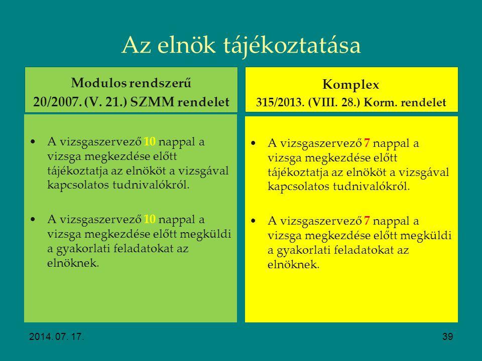 Szakmai vizsgák előkészítése Vizsgabizottság tájékoztatása 2014. 07. 17.38