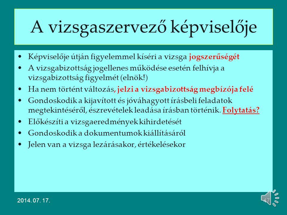 A vizsgabizottság tagjai Modulos rendszerű 20/2007. (V. 21.) SZMM rendelet Kamara/érdekképviselet által delegált tag szerepe Vizsgaszervező által dele