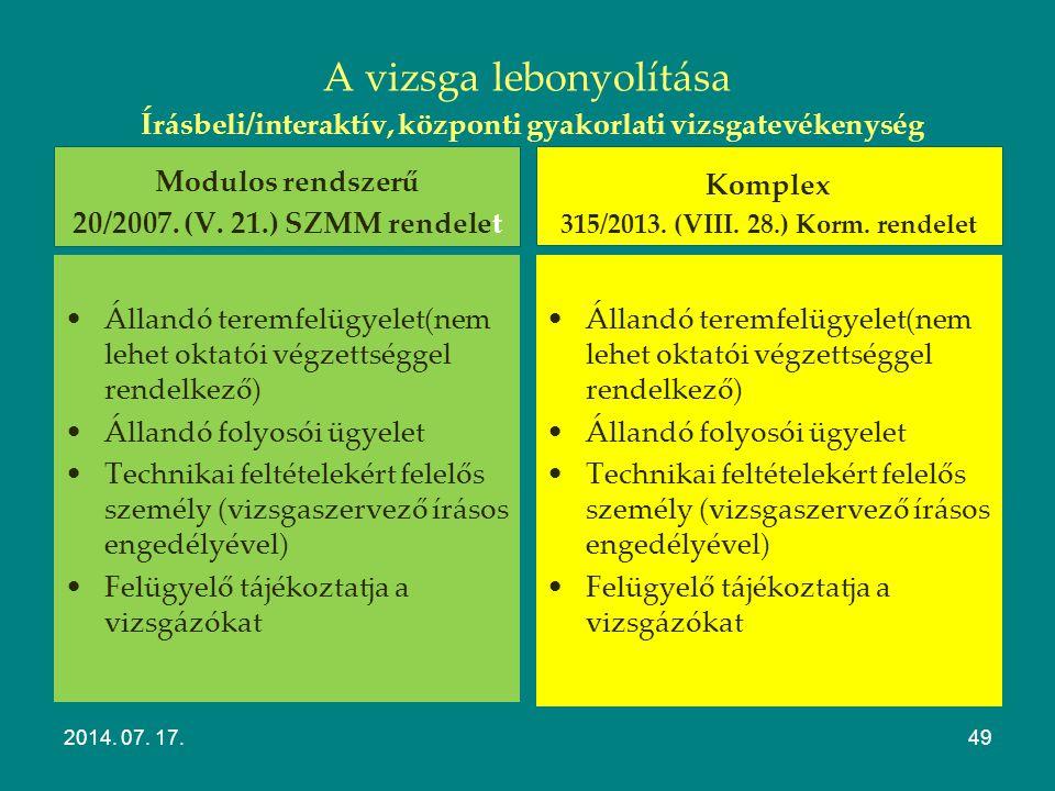 Szakmai vizsgák Lebonyolítása 2014. 07. 17.48